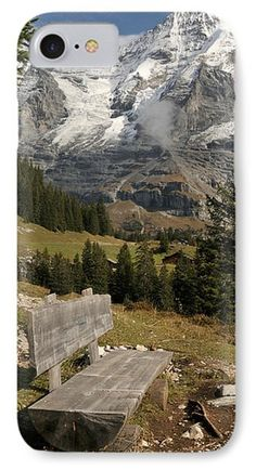 Bench With Mt Monch In The Background Phone Case by Panoramic Images