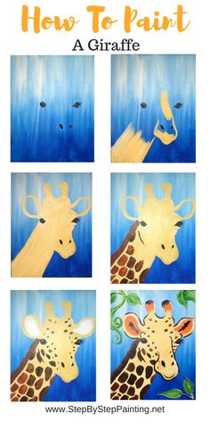 How To Paint A Giraffe - Step By Step Painting - Step By Step Painting With Tracie Kiernan - Giraffe Drawing, Giraffe Painting, Giraffe Art, Baby Painting, Painting For Kids, Art For Kids, Matte Painting, Kid Art, Pour Painting