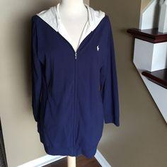 Ralph Lauren long hoodie! Ralph Lauren navy blue jacket/hoodie! Cream color hood. Great condition longer style! Polo horse on front! Ralph Lauren Jackets & Coats