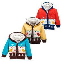 Children Winter Sweater Kid's Casual Fashion Sweaters Baby Girl Boy's Cardigans Print Christmas Deer Fleece Thick Warm Coat 1881(China (Mainland))