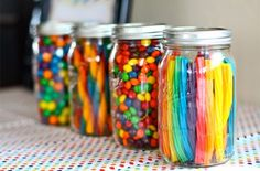 Dylan Grace is Rainbow theme candy bar - so cute to put the candy in mason jars!Rainbow theme candy bar - so cute to put the candy in mason jars!party: Dylan Grace is Rainbow theme candy bar - so cute to put the candy in mason jars! Rainbow Parties, Rainbow Birthday Party, 2nd Birthday Parties, Unicorn Birthday, Special Birthday, Rainbow Party Decorations, Rainbow Party Favors, Birthday Ideas, Hippie Birthday Party