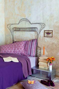 Tête de lit en fil de fer torsadé #purple Marie Claire idées van: http://www.marieclaireidees.com/,une-tete-de-lit-en-fil-de-fer,2610153,987.asp