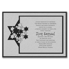 Stars of David - Invitation with Backer - Silver Shimmer