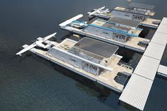 max zhivov's industrial featured hydrohouse includes a water parking for planes FEATURED BOATING GEAR Floating Architecture, Water Architecture, Sustainable Architecture, Residential Architecture, Contemporary Architecture, Underwater Hotel, Floating Hotel, Chalet Design, Boat Projects
