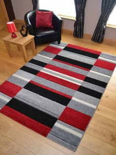 Hawaii Modern Thick Red Black And Silver Blocks Design Rug Available In 5 Sizes