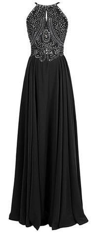 Black Floor Length Chiffon A-Line Prom Dress Featuring Beaded Embellished Halter Bodice and Cutout Detailing PD20181780