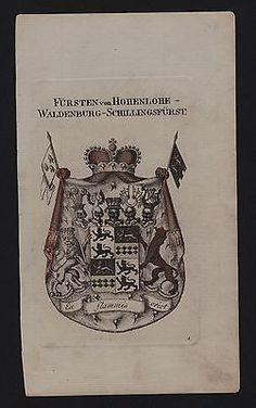 1800 - Fürsten von Hohenlohe Wappen coat of arms Heraldik Genealogie Kupferstich