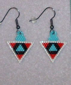 NW Triangle Beaded Earrings 50 by TheCraftyCuban on Etsy, $15.00