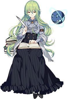 Anime Green Hair, Green Hair Girl, Anime Girl Dress, Anime Art Girl, Anime Outfits, Girl Outfits, Medieval Girl, Anime Elf, Robot Girl