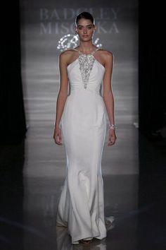 Collection: Spring 2009Neckline: HalterFabric: 6-Ply Silk CrepeColors: White, PearlPrice: $$$$$Website: www.badgleymischka.com