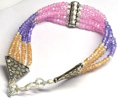 Gorgeous Top Quality Multi Color Hydro Gemstone Roundel Beaded Silver Bracelet