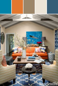 Orange And Blue Living Room Designed By Lisa Perrone