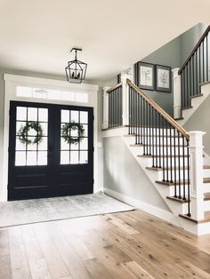 We built our home and moved in recently. Wanted to share to give others inspiration. House Staircase, Staircase Design, Modern Stair Railing, Staircase Railings, Staircase Remodel, Bannister, Staircases, Dream House Plans, My Dream Home