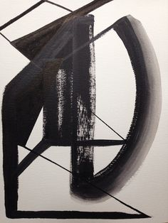 Abstract Painting Black and White 9x12 by JenniferFlannigan