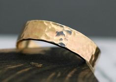 14k Gold Wedding Band with Hammered Finish Custom by Specimental, $800.00
