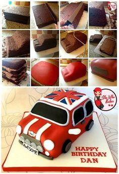 Hello muffins, Here is a step by step tutorial of how to make a Mini Cooper car cake! These basic principles are easily transferrable to any car cake. Bake two 8 x 10 cakes and stack them straight on. 3d Cakes, Fondant Cakes, Mini Cakes, Cupcake Cakes, Fondant Bow, Fondant Flowers, Fondant Figures, Cake Decorating Techniques, Cake Decorating Tutorials