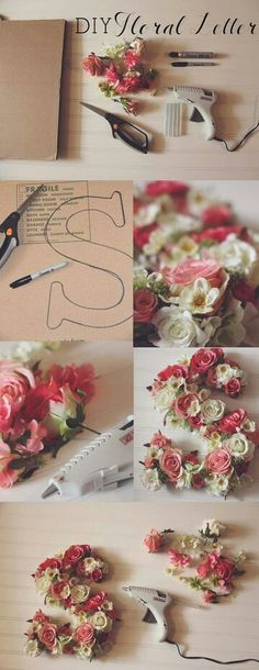 DIY Floral letter great for a statement piece in your home just hanging a cheap frame around it and your set