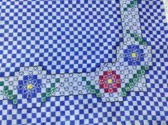 Bordado em tecido xadrez - Amostra (Detalhes... Visitar)