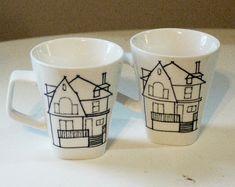 custom house coffee mugs set of two (2)  - hand drawn home illustration pair | wandersketch