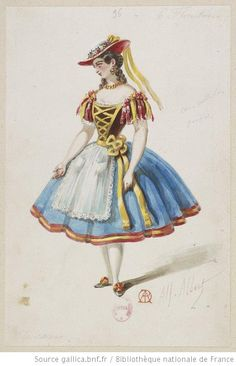 Costume sketch for the ballet L'etoile de Messine by Alfred Albert Theatre Costumes, Ballet Costumes, Dance Costumes, Ballet Vintage, Vintage Dance, Vintage Ads, Doll Fancy Dress, Fancy Dress Ball, Pantomime