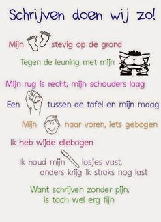 Onderwijs en zo voort ........: 0215. Schrijfhouding kaart Learn Dutch, I Love School, Spelling Activities, Teaching First Grade, Coaching, School Posters, Teacher Education, Learning To Write, Classroom Language