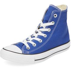 Converse Women's Chuck Taylor All Star Hi-Top - Blue - Size 4m/6w (50 CAD) ❤ liked on Polyvore featuring shoes, sneakers, blue, lace up high top sneakers, high top sneakers, blue high tops, round cap and blue high top shoes