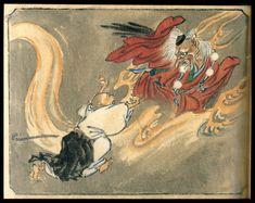 tsmskimonoyokubo:  A tengu and a Buddhist monk. Print by Kyosai.
