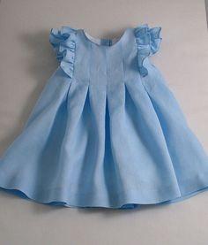 ice blue frilled linen dress, girls linen dress, ice blue linen, ice blue linen dress for little girls
