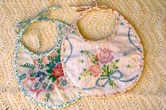 vintage linen bibs and lots of other great ideas in blog (need to look back at dress from Jan. 2012)