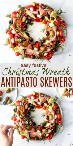 Easy Festive Christmas Wreath Antipasto Skewers are a beautiful centerpiece for your holiday appetizer table. Meats, cheeses, veggies and olives come together for a fresh, and festive snack everyone will love. #antipasto #appetizer