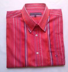 Tommy Hilfiger Mens Shirt short sleeve Size L #TommyHilfiger #ButtonFront