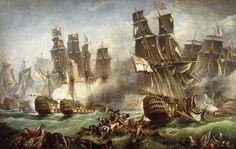 The Battle Of Trafalgar Painting - The Battle Of Trafalgar Fine Art Print