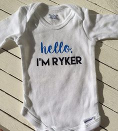 HELLO New Baby Onesie Custom Made to Order at LandriBoutique on Etsy! www.etsy.com/shop/landriboutique