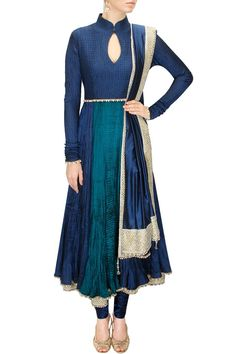 Blue and green emebellished crushed anarkali setavailable only at Pernia's Pop-Up Shop.