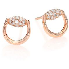 Gucci Horsebit Diamond & 18K Rose Gold Stud Earrings ($2,310) ❤ liked on Polyvore featuring jewelry, earrings, apparel & accessories, rose gold, 18 karat gold earrings, stud earring set, post earrings, diamond earrings and stud earrings