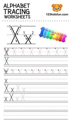 Alphabet Tracing Worksheets A-Z free Printable for Preschooler and Kindergartener. This Alphabet Tracing is a great activity for kids to practice letter recognition and handwriting skills. Printable letter X tracing worksheet. Free Printable Alphabet Worksheets, Letter Worksheets For Preschool, Preschool Writing, Phonics Worksheets, Writing Worksheets, Printables, Alphabet Writing Practice, Handwriting Practice, Letter X Crafts