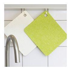 PLUSSIG Dish cloth, green, white - IKEA
