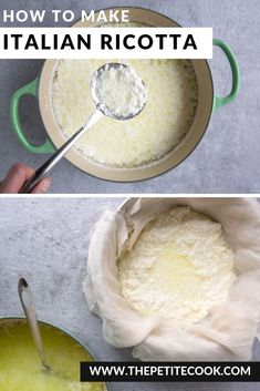 Skip the grocery store and make your own -Ready in just 30 minutes, all you need is 3 ingredients to make delicious, fresh Italian homemade ricotta! Homemade Ricotta Cheese Recipe, Homemade Butter, Desserts With Ricotta Cheese, Fresh Ricotta Recipe, Home Made Ricotta Cheese, Ricotta Recipes Healthy, Goat Cheese, Milk Recipes, Baking Recipes