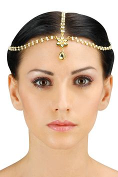 Gold plated kundan stone embellished matha patti available only at Pernia's Pop-Up Shop.