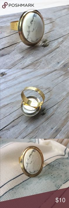 Cabochon adjustable ring. White marveled cabochon repurposed into a ring.  Gold toned adjustable band Jewelry Rings