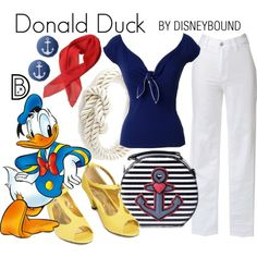 Donald Duck by leslieakay on Polyvore featuring vintage, disney, disneybound and disneycharacter