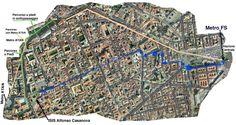 Percorsi per raggiungere a piedi o in metro la sede dei seminari, ISIS Casanova, che si trova in Piazzetta Casanova lungo via San Sebastiano.