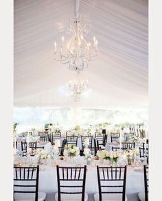 love the dark wood chiavari chairs paired with this white wedding decor ~  we ❤ this! moncheribridals.com