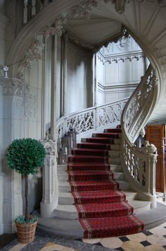 Stairs at Schadau Castle , Thun, Switzerland - Home Interior Design