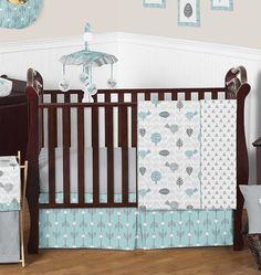 Aqua Blue and birds modern Baby Room, Bedding, and Nursery Ideas