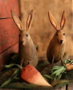 Primitive Bunnies in a Vegetable Garden