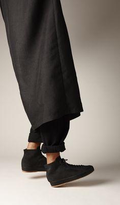 Hand Sewn High Black Suede