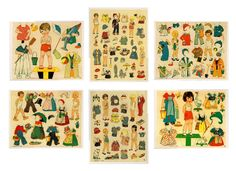 German Cut Out Paper Dolls from 1925 14 Dolls Her Toys and Outfits Neuruppin | eBay