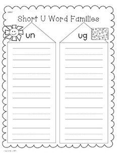 Short u word work printables