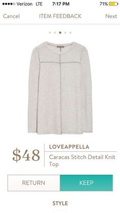 Janet- I like this neutral shirt that I could wear with a pretty scarf or colored denim